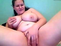BBW big natural tits, rubs one out
