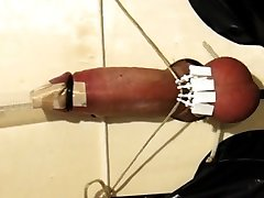 Electro ebin wife with balls clamped up