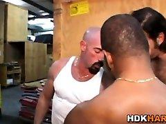 Gay hunk rides black cock