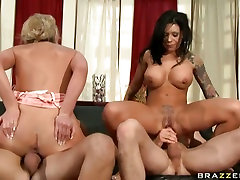 Mason and her sexy little Phoenix Marie take the stage together on some cocks