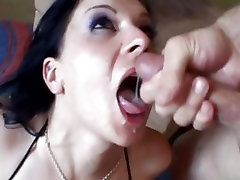 Renee Pornero loving a double facial from two engorged cocks