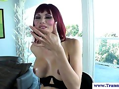 Amateur ladyboy loves the taste of her cum