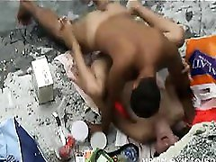 Voyeuring horny nudist Couple on the beach