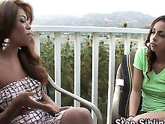 Ebony lesbian stepsisters lick and finger