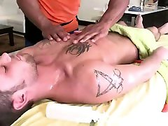 Muscled hot gay guys strip for massage