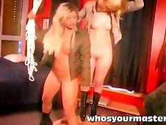 two amateur femdoms trampling guy