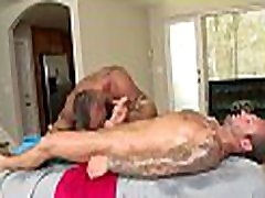 Satisfying bald threesome fellatio