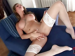 Big boobed Tarra horny mom busty son rubs her glass toy on her wet pussy