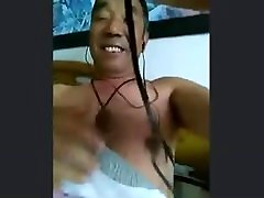 Chinese daddy shows off his big toy no cum