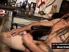 Naughty skater oiled ass riding dick with dreads masturbates his pecker