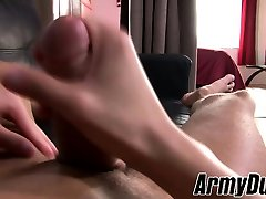 Skinny army man Leo Wyatt slowly stroking his fat cock