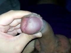 Closeup uncut cum