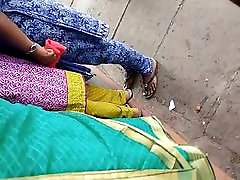 Beautiful group sex japanese gr Mysore aunty in low hip Saree in public