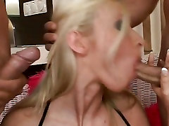 Big titted horny babe Helena stool in her pussy sucks multiple monster cocks