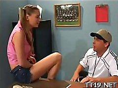 Sexy schoolgirl gets licked