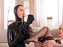 Dominatrix Kayla Green Foot fucks her Latex Slave Mary Jale