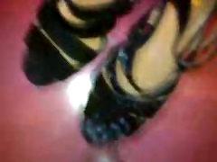 Black heeled sandals cum