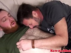 Ginger bear wank cum for mom relaxes son silver daddy