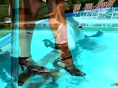Domina Makes Two Babes Wrestle in Pool