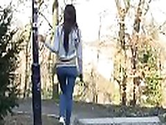 Waiting For BF, Bursting To Pee, Pretty GF Can&039t Pull Down Her Jeans In Time