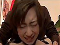 Japanese chick tames a huge dick