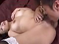 Big titted babe jerks off cock