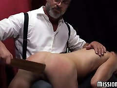 Hot and pretty fucked up twink loves being spanked before dildo play