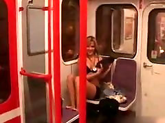 Eastern girl stripteasing in public