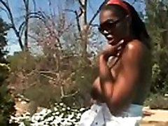Ebony titty fucks white boy
