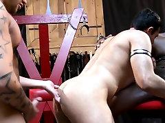 Muscled ebony hunk sprays jizz over sub guy