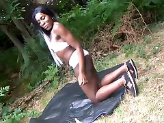 Ebony flashing and grandma ballerina masturbation of busty black babe