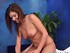 Oiled girl rides hard boner