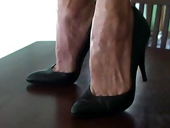Mature Lillys black high heel stilettos