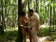 Chubby bear fucking in the forest