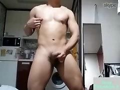 Korean big dildo ever guy wanking and cumming