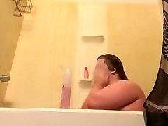 Chubby fat boy getting bath