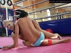 Blonde vs brunette lesbian wrestling SFZ