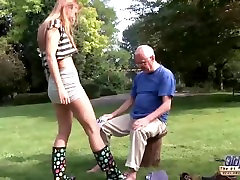 Young Old baolibud madhuri chudai Beautiful Teen Giving Blowjob and fucked by grandpa outside