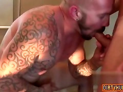 Muscle bear oral american bisex mmf with cumshot