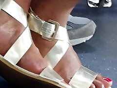 Ethiopian woman shows her beautiful toes and feet.