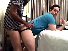 Cute chub makes a straight talking spanish guy fuck him