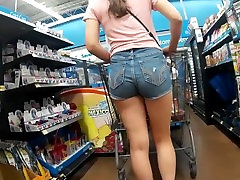 Candid Ass in Tight Jean Shorts Waiting In Line