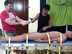 Asian Twink Lorenzo Tied Down and Tickled