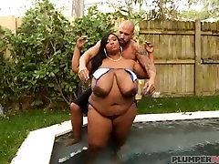 Sexy Ebony BBW Babe Dippd N Redd Poolside