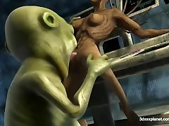 Aliens sex and pussy licking 3d sex