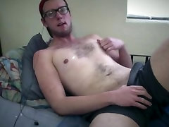 Sexy Nerdy Twink Jerking Rides Huge Dildo