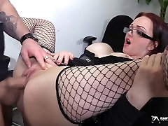 Horny busty secretary sucking her boss cock