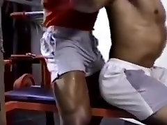 Brasil bodybuilders shower and jerk off