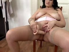 Mature busty booty mom takes gf jizz rubber cock