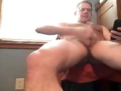dad cums while watching a video of his wife